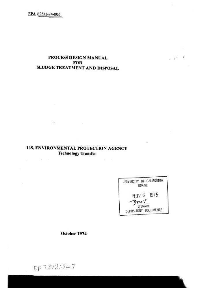 Process Design Manual for Sludge Treatment and Disposal