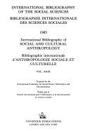 Bibliographie Internationale D anthropologie Sociale Et Culturelle PDF