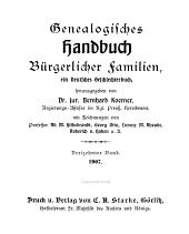 Deutsches Geschlecterbuch: Band 13
