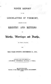 Report ... Relating to the Registry and Returns of Birth, Marriages, Deaths and Divorces in the State ...: Volume 9