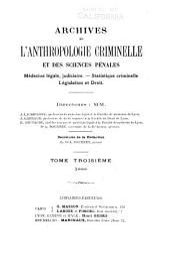 Archives d'anthropologie criminelle et des sciences pénales: Volume3