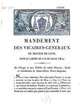 Mandement des vicaires-généraux du diocèse de Lyon, pour le carême de l'an de grace 1820