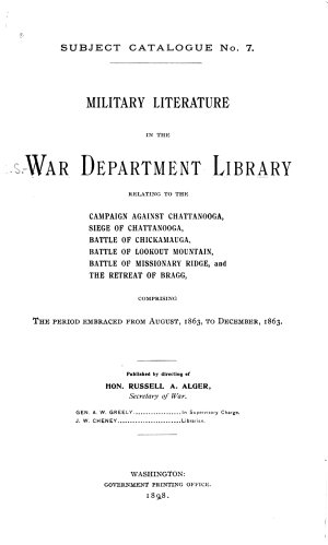 Military Literature in the War Department Library