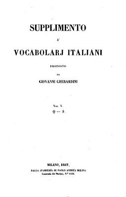 Supplimento a  vocabolarj italiani proposto da Giovanni Gherardini PDF