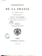 Inscriptions de la France du Ve siècle au XVIIIe: ancien diocèse de Paris
