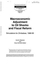 Macroeconomic Adjustment to Oil Shocks and Fiscal Reform: Simulations for Zimbabwe, 1988-95, Volume 772