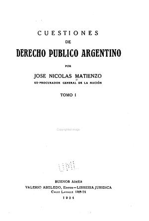 Cuestiones de derecho p  blico argentino