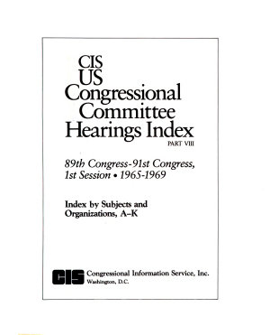 CIS US Congressional Committee Hearings Index  89th Congress 91st Congress  1st Session  1965 1969  5 v   PDF