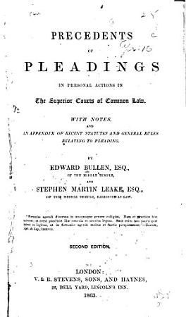 Precedents of Pleadings in Personal Actions in the Superior Courts of Common Law PDF