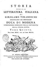 Storia della letteratura italiana: Tomo quinto, Volume 5