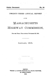 Annual Report of the Massachusetts Highway Commission: Volume 23