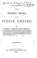 Selections from My Recent Notes on the Indian Empire PDF