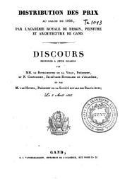 Distribution des prix au Salon de 1835, par l'académie royale de dessin, peinture et architecture de Gand: discours prononcés à cette occasion