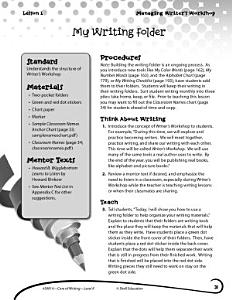 Writing Lesson Level K  My Writing Folder PDF