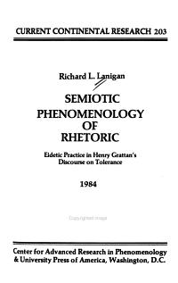 Semiotic Phenomenology of Rhetoric