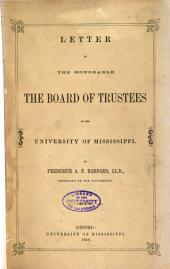 Letter to the Honorable, the Board of Trustees of the University of Mississippi