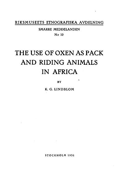 Download The Use of Oxen as Pack and Riding Animals in Africa Book