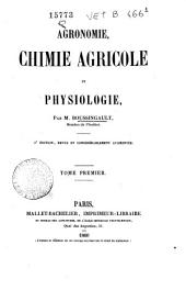 Agronomie, chimie agricole et physiologie: Volume1