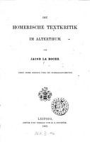 Die homerische Textkritik im Alterthum PDF