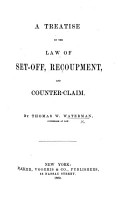 A Treatise on the Law of Set off  Recoupment  and Counter Claim PDF