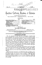 Bulletin of the Southern California Academy of Sciences: Volumes 4-11