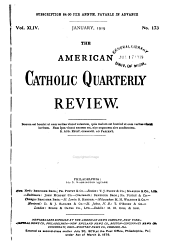The American Catholic Quarterly Review: Volume 44