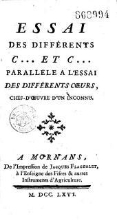 """Essai sur les différents C... et C... Parallèle à l'""""Essai des différents coeurs"""" chefd'oeuvre d'un inconnu [J. Pernetti, Vers de Bouffers]"""