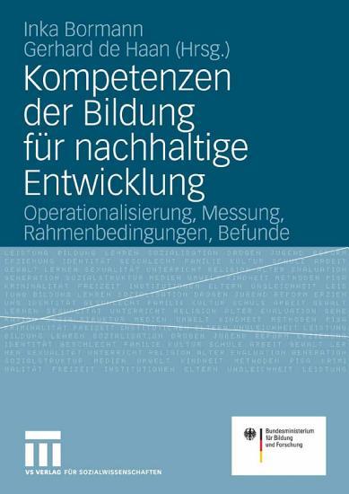 Kompetenzen der Bildung f  r nachhaltige Entwicklung PDF