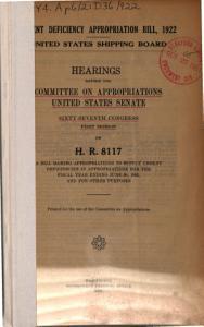 Urgent Deficiency Appropriation Bill  1922 PDF