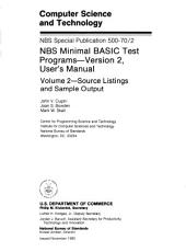 NBS minimal BASIC test programs: version 2, user's manual, Volume 2