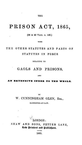 The Prison Act 1865