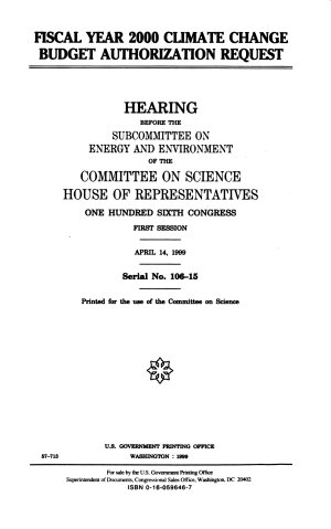 Fiscal Year 2000 Climate Change Budget Authorization Request