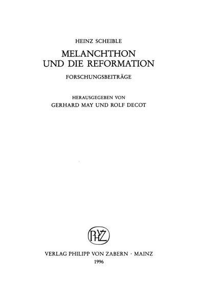 Melanchthon und die Reformation PDF