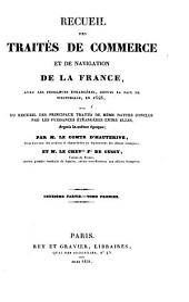 Recueil des traites de commerce et de navigation de la France avec les puissances etrangeres depuis la paix de Westphalie en 1648: Volume4