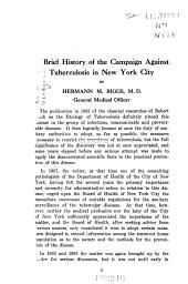 Brief History of the Campaign Against Tuberculosis in New York City: Catalogue of the Tuberculosis Exhibit of the Department of Health, City of New York, 1908