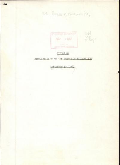 Report on Reorganization of the Bureau of Reclamation PDF