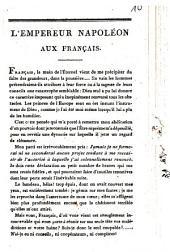 L' empereur Napoléon aux Français