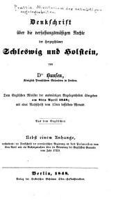 Denkschrift über die verfassungsmässigen rechte der herzogthümer Schleswig und Holstein