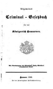 Allgemeines Criminal-Gesetzbuch für das Königreich Hannover