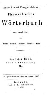 Physikalisches wörterbuch: Band 6,Teil 2