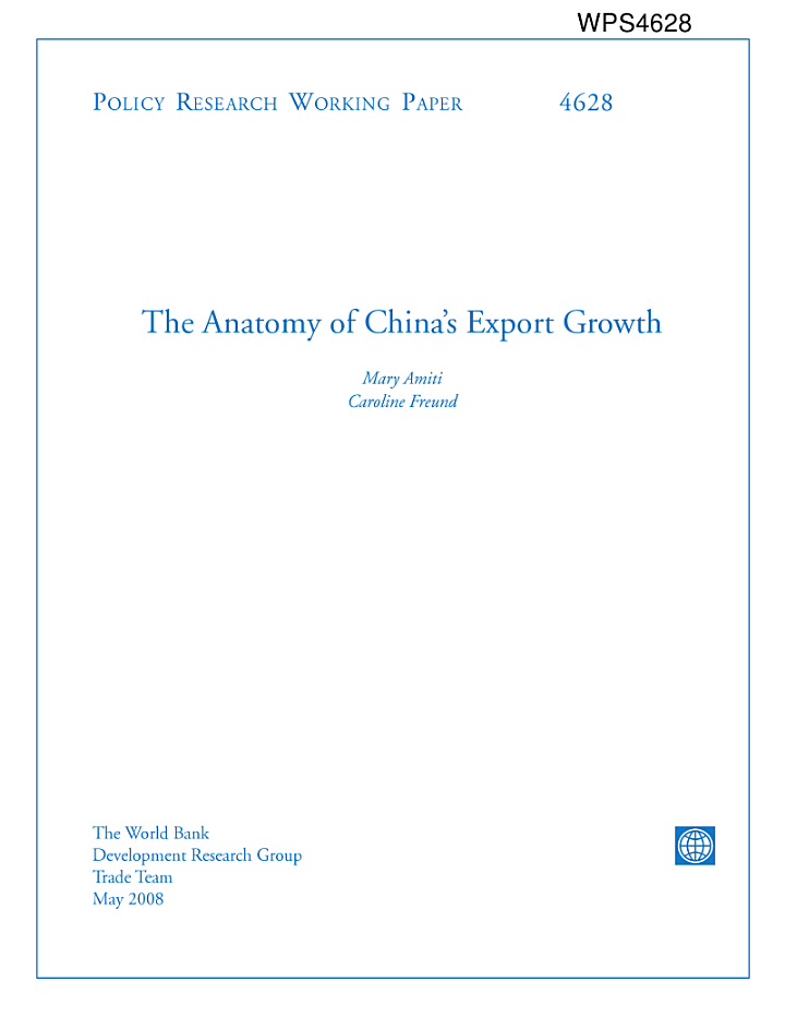 The Anatomy of China's Export Growth
