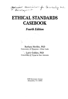 Ethical Standards Casebook Book