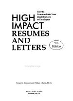 High Impact Resumes and Letters