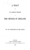 A tract for clerymen of the Church of England  By an observer of the times PDF