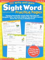100 Write And Learn Sight Word Practice Pages Grades K 2 Book PDF