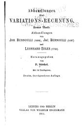 Abhandlungen über variations-rechnung: Band 1