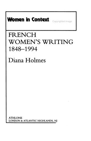 French Women s Writing  1848 1994 PDF
