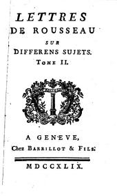 Lettres sur différens sujets: Volume2