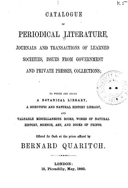 Download Catalogue of Works on Natural History  Physics  Mathematics  and Other Sciences Book