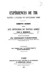 Expériences de tir faites à Juliers en Septembre, 1860 ... Traduit de l'Allemand par T. Parmentier, etc